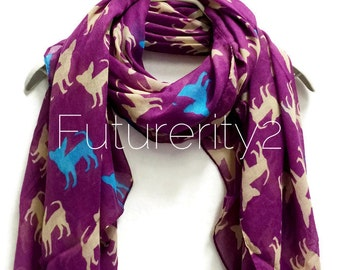 Chihuahua Dogs Purple Scarf / Spring Scarf / Summer Scarf / Autumn Scarf / Women Scarves / Accessories / Gifts For Her / Handmade