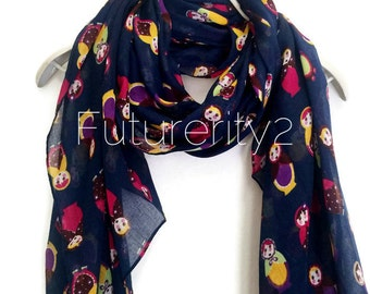 Russian Dolls Navy Blue Scarf Summer Scarf / Spring Scarf / Gift For Her / Women Scarves / Fashion Accessories