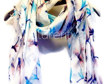 Dragonfly White Spring Scarf / Summer Scarf / Gift For Her / Womens Scarves / Fashion Accessories