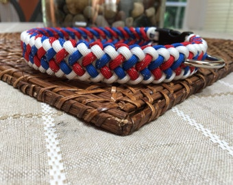 Paracord Dog Collar- Sanctified Pattern White/Reflective Red/Reflective Blue
