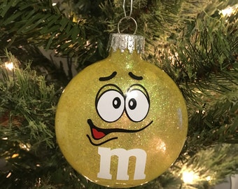 Yellow M&M Christmas Ornament
