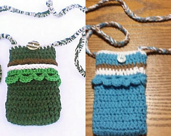Crochet Phone Pouch, Neck Cellphone Pouch, Crossbody iPhone 6 plus Cover, Cellphone Case, Mobile Sleeve, Neck Strap Lanyard Bag