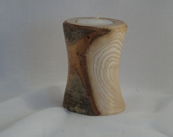 Wood turned tealight holder - branch wood with natural bark