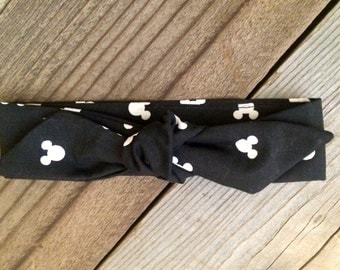 Monochrome mickey mouse baby headwrap, minnie mouse baby headband,
