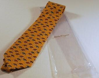 Salvatore Ferragamo Vintage Silk Tie.  Never Worn
