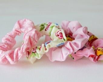 Hair Scrunchies, Floral Scrunchie, Pink Scrunchie, Fruit Scrunchie, Rose Scrunchie, Scrunchie, Cotton Scrunchies, Girls Scrunchies