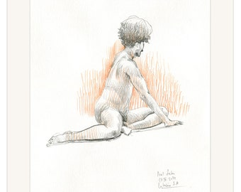 "Male Nude pencil drawing ORIGINAL Male nude studies - orange tobacco black 11,5"" x 16,5"" nude pencil drawing by Catalina."