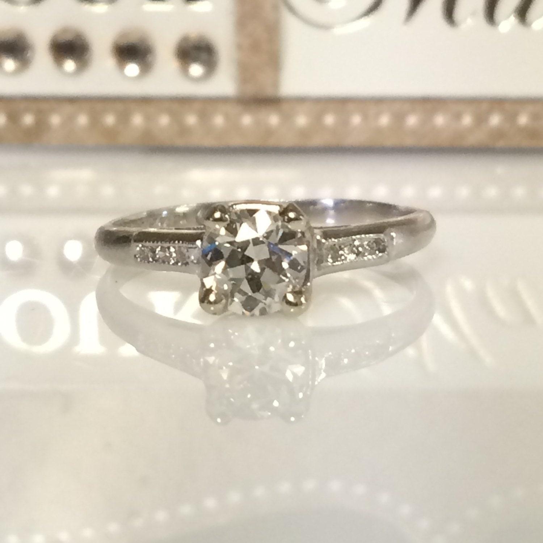 Vintage Engagement Platinum Diamond Ring Low Profile Push
