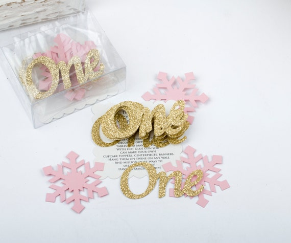 1st Birthday Decorations Gold Party Decorations. One Confetti. Winter Onederland ONE and Snowflakes confetti - 36PC