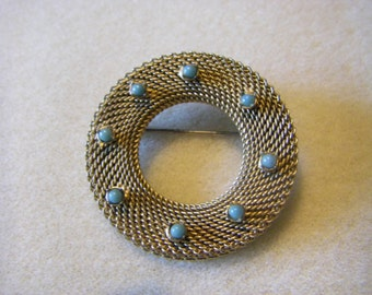 MESH style pin/BROOCH  With 8  TURQUOISE  drops