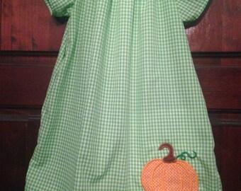 Green Gingham Pumpkin Dress