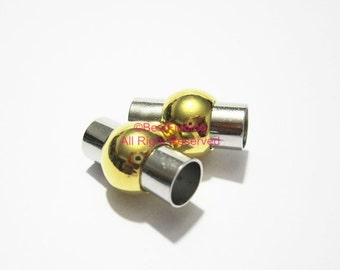 10pcs 6mm Round magnetic clasp Gold middle Rhodium Strong magnet leather clasp