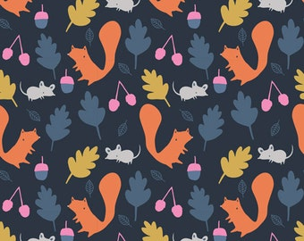 Woodland Critters in Navy, Sweet Autumn Day Collection by Little Cube for Cloud 9 Organic Fabrics 1113
