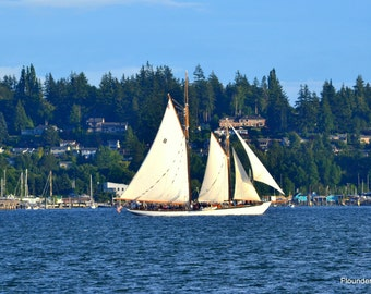 Sailing Vessel Zodiac sails out of Bellingham Bay, sailing ship, seascape picture, nautical image