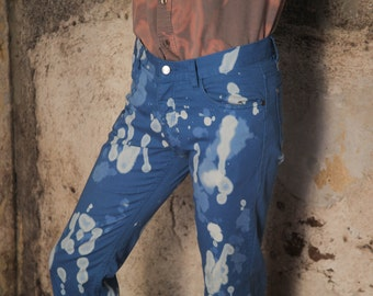 Hand-dyed 100% cotton light blue and white pants/ trousers/ jeans