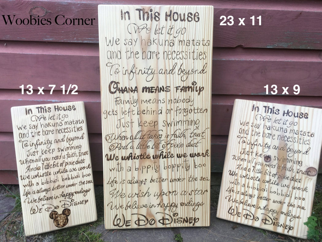 In This House We Do Disney Sign We Do Disney Wood By