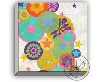 canvas prints for a nursery, colorful circus wall decor, canvas art prints, geometric art print on canvas, rainbow color wall art on canvas