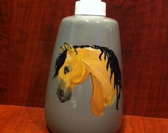 Hand Painted Ceramic Soap/Lotion Bottle - Buckskin Horse