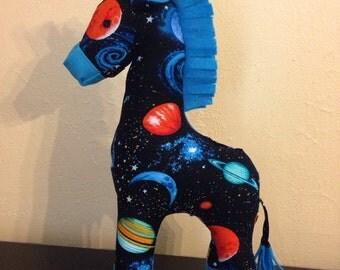 Blue galaxy print stuffed giraffe/plushie