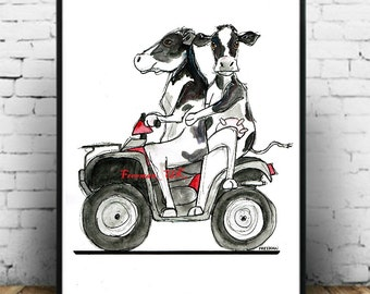 "Silly Cows! ""Cattle Quad"" Art Print"