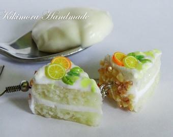 Polymer Cake Earrings, Polymer Lemon Cake Earrings, Piece of Cake Earrings, Polymer Clay Cake Earrings, Miniature Polymer Food Jewelry