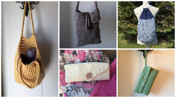Bags and Purses eBook - 5 Unique Loom Knit Patterns