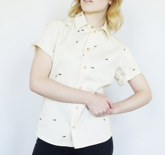 Organic Button Down Shirt Short Sleeve Unisex By Objectapparel