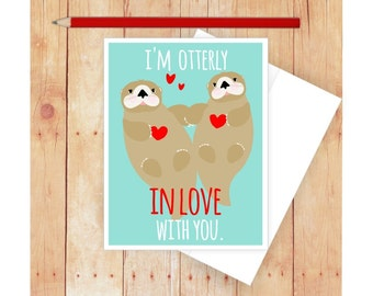 I Love You Card, Pun Card, Funny Card, Valentine Card, Otters, Card for Boyfriend, Card for Girlfriend, Funny Love Card, Puns