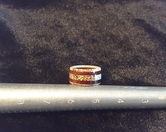 Ready to ship / Deer antler and zebra wood ring. Size 5.5