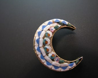 Lovely Vintage Italian Micro Mosaic Moon Brooch