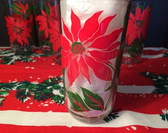 SET of 8 Drinking Glasses with Poinsettias, Christmas, Holiday, Vintage, Mid Century Modern