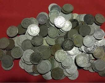 Old U.S. Liberty V Nickel CULL Coins // 1883-1912 // 2 COIN LOT // Antique Money