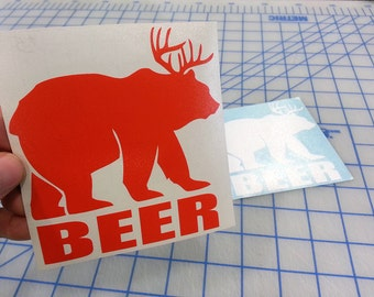 Beer Bear decal.. Bear Beer decal.. Beer Bear sticker.. Bear Beer sticker..