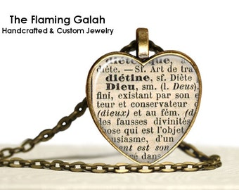 Definition GOD / DIEU Pendant. French Vintage Dictionary Necklace. Long Pendant Necklace Keyring. Quote Pendant. Gift Under 20.  (P0649)