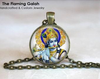KRISHNA Pendant • Hindu God • God of Compassion • God of Tenderness • Indian God • Blue God • Gift Under 20 • Made in Australia (P0629)
