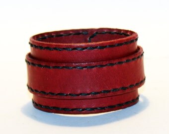 Red Leather Cuff Bracelet! Nice gift for women! Made in Latvia! Unique item! Best gift! Handmade leather cuff! Best quality!