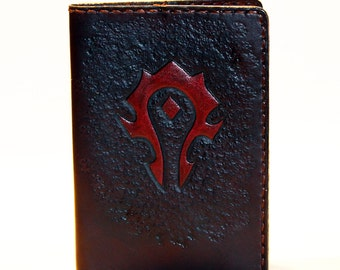 Leather Passport Cover With Horde Symbol! Leather Passport Holder! Leather Travel Passport Cover! Brown Handmade Passport Cover! SALE!