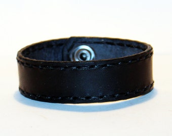 Black Leather Cuff Bracelet! Nice gift for women! Black wrist cuff! Bracelet wof women! Bracelet for men.