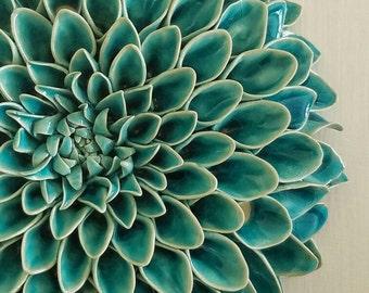 Turquoise ceramic dahlia