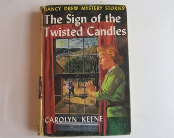 Nancy Drew The Sign of the Twisted Candles, Nancy Drew 1960s, Number 9, Nancy Drew vintage book, 1970s Nancy Drew book, Nancy Drew mystery
