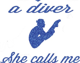I Love A Diver Girl Iron On Decal