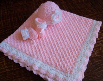 Knit/Crochet Personalized Baby Blanket, Hat and Booties (36x35 inches, acrylic)