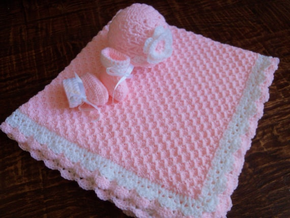 Knit/Crochet Personalized Baby Blanket Hat and Booties 36x35