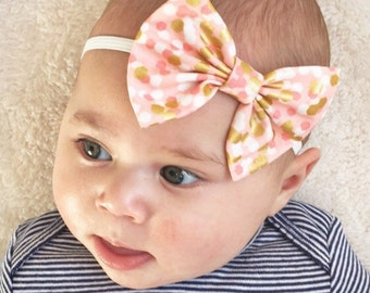 SALE: Pink & Gold baby bow