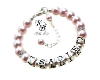 Baby Bracelets, Custom Baby  Gift, Heart Bracelet, Personalized Baby Gifts, Girl Jewelry, Name Bracelets, Custom Jewelry, Baby Shower Gifts