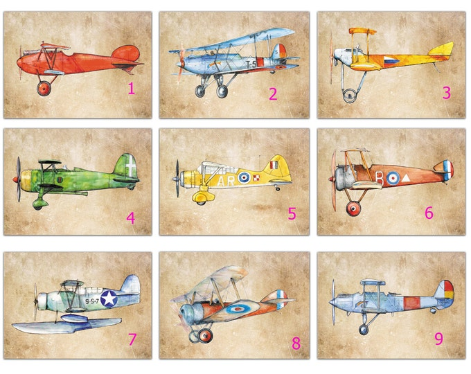 Airplanes wall art Old paper decor prints MAKE YOUR SET 8x10 prints Military airplane Retro aircrafts on vintage paper Boys nursery wall art