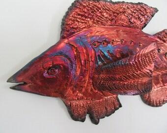 Wall fish raku ceramic