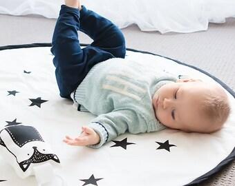 Black Stars Play Mat Hand Printed Lightly Padded / Nursery Rug Carpet / Decor / Handmade / Black on White / Organic Options / Baby Playmat