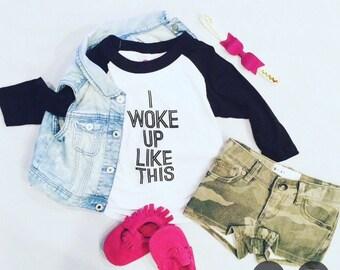 Kids tshirt | I woke up like this | Toddler | child | baseball tee | trendy| hip children's