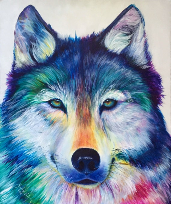 Colorful Timber Wolf Modern Acrylic Painting on Canvas Colorful Wolf Painting